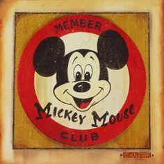 """Vintage Classic"" by Trevor Carlton - Original Artwork, 20x20.  #Disney #MickeyMouse #DisneyFineArt #TrevorCarlton"