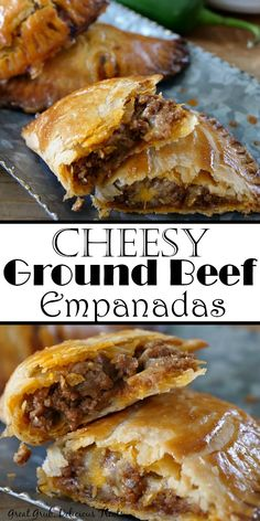 These Cheesy Ground Beef Empanadas are loaded with two types of cheese, deliciously seasoned meat, then baked to perfection. These Cheesy Ground Beef Empanadas are loaded with two types of cheese, deliciously seasoned meat, then baked to perfection. Good Food, Yummy Food, Awesome Food, Comida Latina, Buffalo Chicken, Cheesy Chicken, Baked Chicken Tacos, Nachos, Appetizer Recipes
