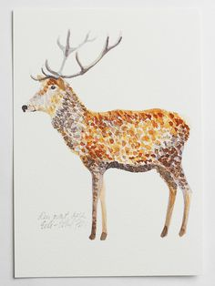deer art print illustration drawing brown white orange home decor