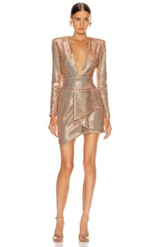 Kleider Alexandre Vauthier Sequin Plunging Mini Dress in Pink Gold Special Dresses, Nice Dresses, Short Dresses, Dress Outfits, Fashion Dresses, Dance Outfits, Haute Couture Designers, Classy Outfits, Tomboy Outfits