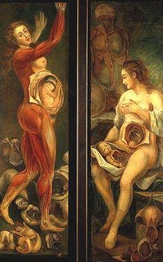 "Figura anatómica (""Anatomical figure""). Jacques-Fabien Gautier D'Agoty. 1765. Localización: Wellcome Library (Londres). https://painthealth.wordpress.com/2016/04/22/figura-anatomica-3/"