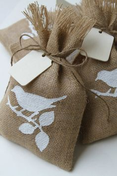 Burlap Gift Bags or Treat Bags, Hand Painted White Bird, Shabby Chic Weddings, Holidays, All Occasion, Natural Wood Gift Tag, Set of Four