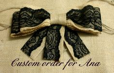 black lace and burlap