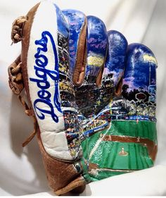 """Hand painted mural of Dodger Stadium on a 1940's era Baseball Glove by Artist """"George Lopez""""  This is truly an artistic Masterpiece and a Beautiful Work of Art that captures in detail a night out under the lights at the Ballpark. -View 2"""