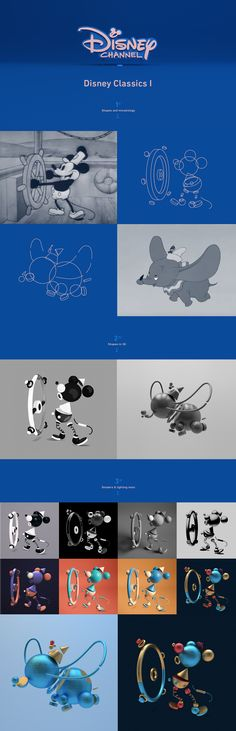Disney call us with a great idea, to recreate Disney`s classic with geometrical abstract shapes. Just using animation you could recognize each disney classic movie. The selected movies are from the last 75 years of Disney Animation. The first bunch inclu…