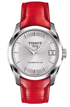 Tissot Ladies Couturier Powermatic 80 Watch with Silver Dial and Red Leather Strap