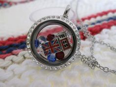 SHD Locket: british flag, england, telephone booth, red white and blue accents, crystals