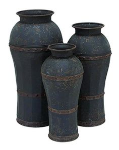 Add a touch of rustic texture to your interior decorating with DecMode Metal Vase - Set of 3 . Crafted from iron, all three vases feature a distressed. Urn Vase, Cylinder Vase, Rustic Vintage Decor, Rustic Style, Rustic Charm, Vases For Sale, Home Decor Vases, Metal Vase, Vintage Vibes