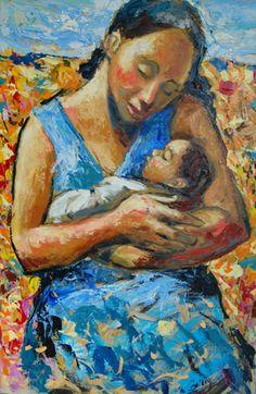 Emmanuel Garibay ~ Woman with Baby (Blue Dress) 2011