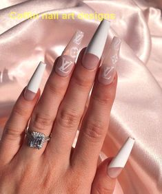 Want some ideas for wedding nail polish designs? This article is a collection of our favorite nail polish designs for your special day. Read for inspiration White Acrylic Nails, Best Acrylic Nails, Marble Nails, White Nail, White Acrylics, Swag Nails, My Nails, Grunge Nails, Talon Nails