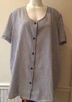 78cb7b13f37 Woman Within Tunic 2X Black Gray White Striped Seer Sucker Button Front S S