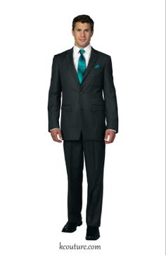 Men's satin tie and pocket square in teal - kcouture.com
