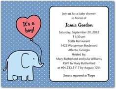 Studio Basics: Baby Shower Invitations - Tiny Elephant: Lapis by Tiny Prints