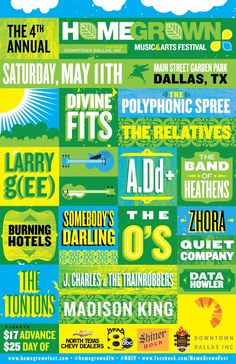 """May 11 @ Main Street Garden Park - Downtown Dallas Inc. Presents """"Fourth Annual Homegrown Music and Arts Festival"""" featuring Divine Fits 
