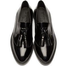Burberry Prorsum Black Halsmoor Tasseled Loafers ($510) ❤ liked on Polyvore featuring shoes, loafers, burberry loafers, shiny shoes, low top, black loafer shoes and black shoes