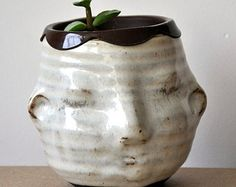 taking orders now- small rustic cream moonface planter cup container, handmade wheelthrown pottery- ready to ship