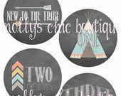 Baby Monthly Stickers, Tribe #tribal #teepee #arrow #onesiesticker #month #milestone