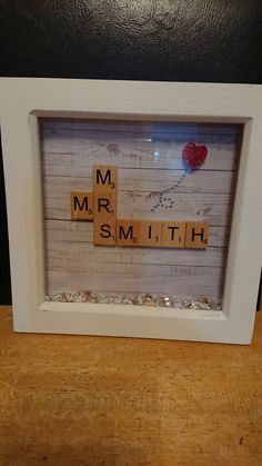 Mr and Mrs scrabble tile frame. Wedding, anniversary, handmade, glitter and sequin by GlitterGiftsByRachel on Etsy Handmade Frames, Handmade Gifts, Scrabble Wedding, Mr And Mrs Smith, Mr And Mrs Wedding, Scrabble Tiles, Wedding Frames, Bank Holiday, More Fun