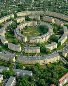 "Rundling Leipzig, Germany-  The so-called ""Rundling"" is a ring-shaped residential complex in the South-East of Leipzig, Germany. It was built from 1929 to 1930 by architect Hubert Ritter"