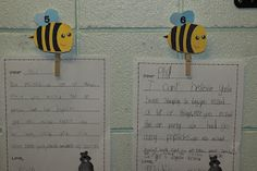 Cute way to display kids work. Daisies, Dots and Bees: to hold student work