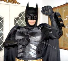 Homemade Dark Knight Batman Costume Ideas: I made this Homemade Batman Dark Knight Costume for an office Halloween costume competition. I did it in about days, out of things that were already. Office Halloween Costumes, Halloween 2014, Holidays Halloween, Batman Dark, Batman The Dark Knight, Dark Knight Costume, Lego Knights, Homemade Costumes, Tis The Season
