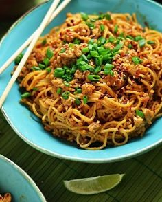 Spicy Sesame-Chili Noodles with Chicken 30 mins to make serves 4-6