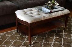 diy oval coffee table into ottoman