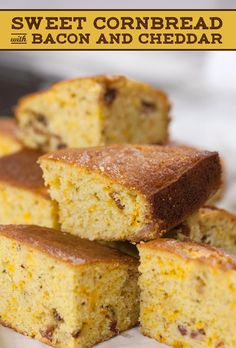 It just takes 50 minutes to cook this cheddar and bacon cornbread. It's the perfect combo of salty and sweet. Bacon Cornbread, Sweet Cornbread, Thanksgiving Side Dishes, Thanksgiving Recipes, Snack Recipes, Bread Recipes, Yummy Recipes, Snacks, Yummy Food