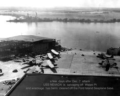 USS Nevada beached off Hospital Point in Oahu, Hawaii, days after the attack on Pearl Harbor. Remember Pearl Harbor, Uss Arizona Memorial, Pearl Harbor Attack, Flying Boat, Battleship, Nevada, Techno, American History, Wwii