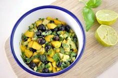 Mango Avocado Salad with Blueberries, Lime Juice,