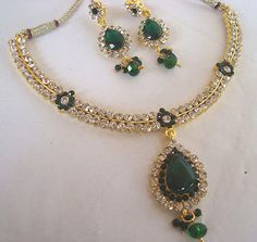 BEAUTIFUL BRIDAL Kundan green stone Necklace set with Earring 6900G | Jewelry & Watches, Fashion Jewelry, Jewelry Sets | eBay!