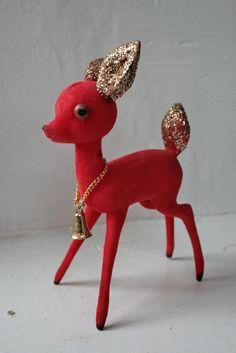 Vintage Flocked Red Reindeer Made in Japan