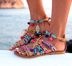Boho sandals fashion trend: Friendship Bracelet gladiator sandals at Dimitras Workshop