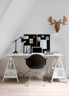 interesting storage idea for tripod-like desk