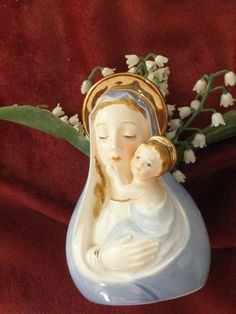 Vintage Religious 1960 Madonna Child Mary Jesus. I have something just like this and with the lily of the valley, so lovely...