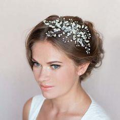 Bride Fancy Charm Pearl Headpiece Wedding Party Hair Comb Head Jewelry Handmade