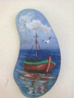 Ζωγραφική σε βότσαλο - Βάρκα, Painted pebble, little boat