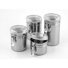 Conjunto De 4 Potes Hermeticos Para Mantimento Aço Inox 3254 - R$ 49,90 no MercadoLivre