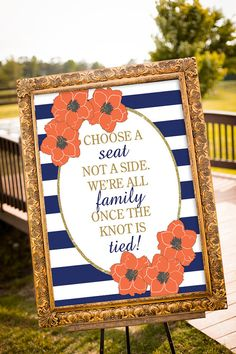 Choose a seat not a side Coral and Navy Wedding by nelladesigns