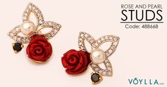 ROSE AND PEARL GOLD TONE STUDS. Product Code :488668 #love #rose #stud #gold #tone #world #fashion #jewelry #pearl #earrings