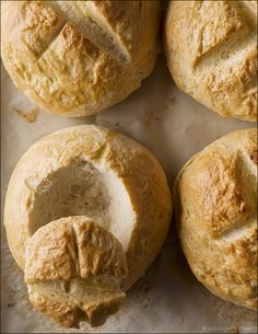 The Stock Pot: Homemade Bread Bowls:  This recipe is a great one if you're afraid of bread-making and you own a stand mixer since it does the lion's share of work for you.
