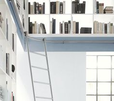 P :: Sliding Ladders for Curved Rails and Corners // VARIO sliding ladder manufactured by MWE // Designed by Mario Wille // www.mwe.de/en