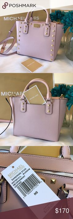 "🆕 Michael Kors Sandrine Stud Crossbody Blossom SM MK MICHAEL KORS SAFFIANO SANDRINE STUD SMALL CROSSBODY BAG IN BLOSSOM Retail $228 35S7GD1C1L ✨Color: Blossom ✨Saffiano leather w/ matching trim ✨Top zip closure ✨Double handles w/ adjustable detachable crossbody strap ✨Gold tone hardware ✨Gold tone studded detail on front ✨MK logo plate on front ✨slip pocket at the back ✨1 zippered pocket ✨signature logo print lining ✨protective metal foot-base ✨8""-10""L x 7.5""H x 4""D ✨w/ 5"" double handle…"