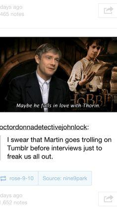 Martin Freeman - Bilbo Baggins - The Hobbit funny Bagginshield, Into The West, Bilbo Baggins, I Ship It, Jrr Tolkien, Thranduil, Raining Men, Martin Freeman, Middle Earth