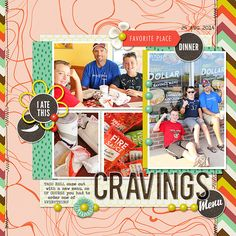 Cravings Menu digital scrapbook layout page by Chanell Rigterink