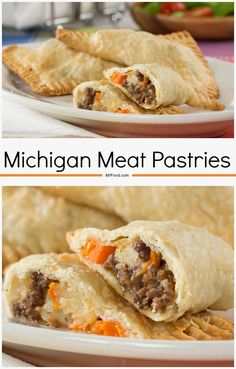 "English immigrants brought ""pasties"" to America. Now, they're one of Michigan's most meat pies popular foods. Beefy and stuffed with carrots, potatoes, and more.these are hearty and delicious! Meat Appetizers, Appetizer Recipes, Dinner Recipes, Dinner Ideas, Beef Dishes, Food Dishes, Main Dishes, Meat Recipes, Cooking Recipes"