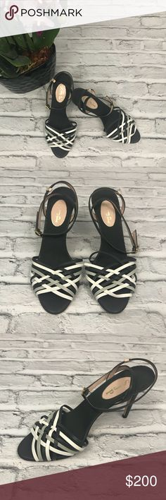 SJP Leather Woven Strappy Sandal Heels size 37.5 New without box! SJP by Sarah Jessica Parker Leather Woven Strappy Heels. Charcoal, gray and white in color. Super versatile. Tag size 37.5. SJP by Sarah Jessica Parker Shoes Heels