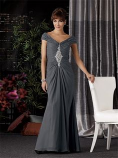 Sexy V neck off the shoulder long grey chiffon Mother of the bride dress