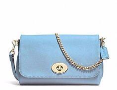 LAST ONE NWT COACH Mini Ruby Crossbody Blue Jay Blue Leather Clutch PURSE 34604  | eBay