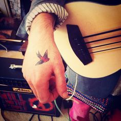 Very cool bird tattoo on Will Rendle's hand during Will And The People 's session with us. Tattoo Bird, Leaf Tattoos, Guitar, Cool Stuff, People, People Illustration, Guitars, Folk